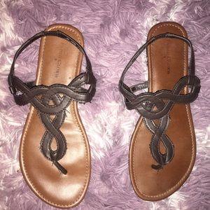 Brown sling back strap sandal